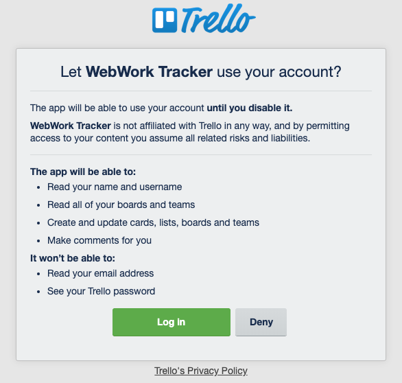 Open your Trello account