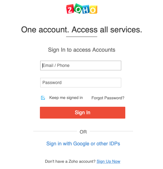 Open your Zoho account